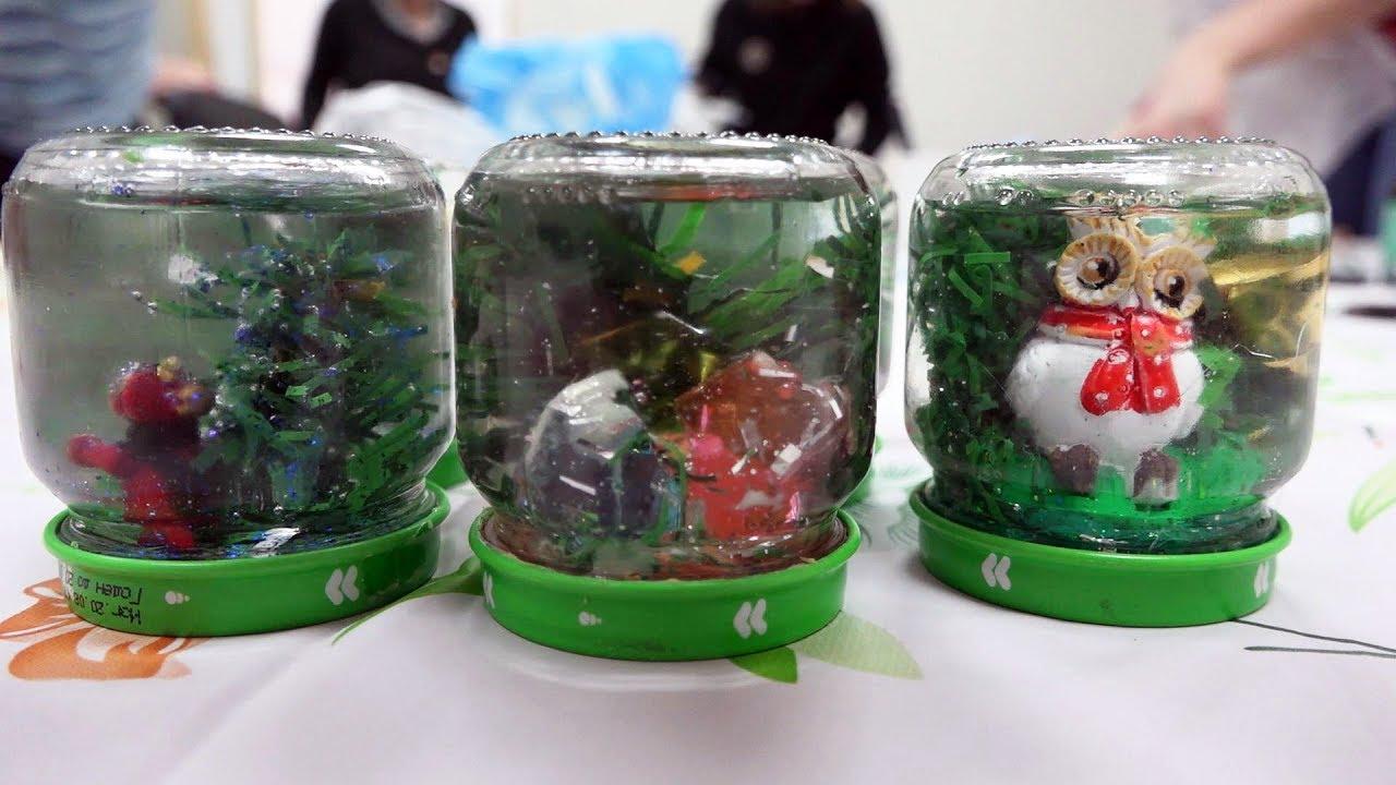 Наталия Рыскина Снежные шары из баночек-Композиция с падающим снегом. Новогодние поделки с детьми
