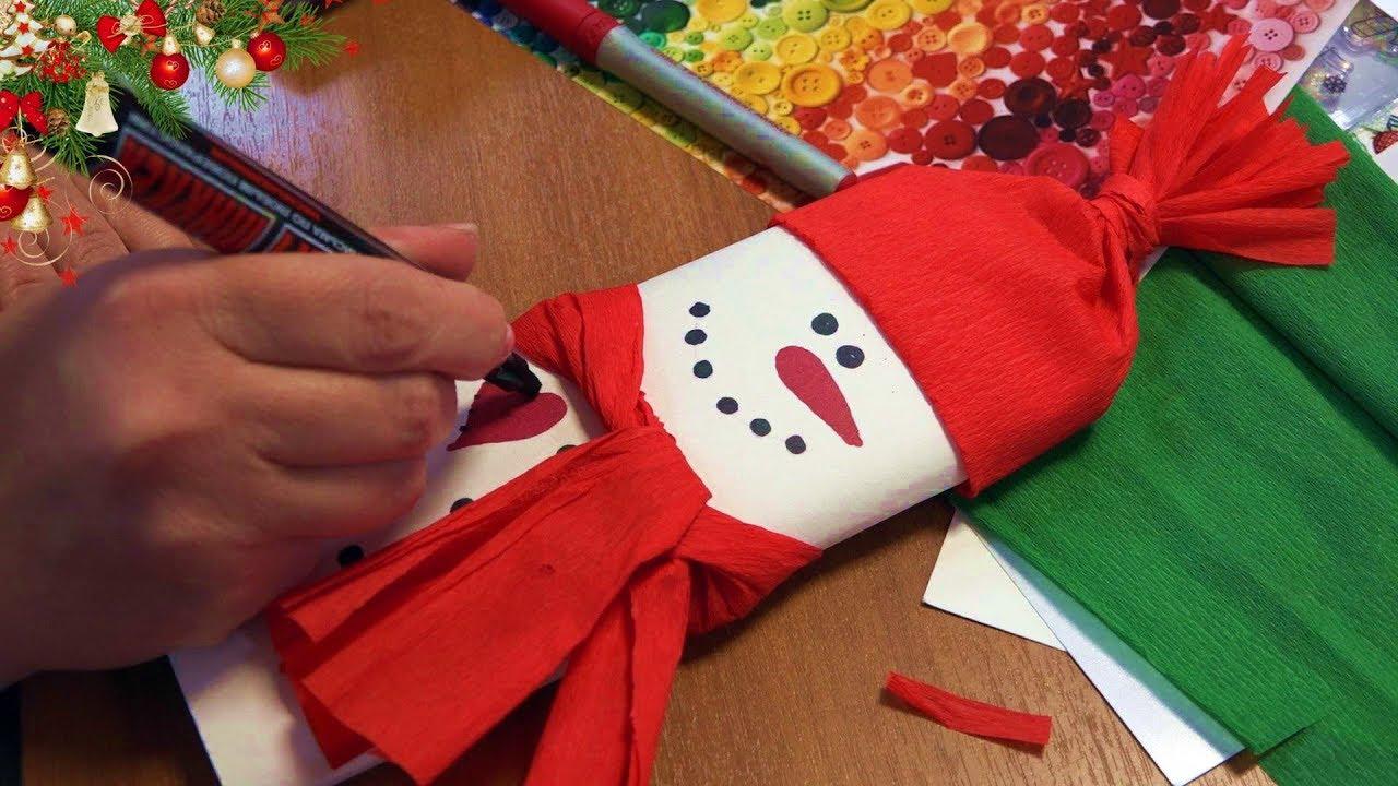 Анастасия Коломина Новогодние открытки Снеговики и ёлочки с шоколадкой. Мастер-класс для волонтёров