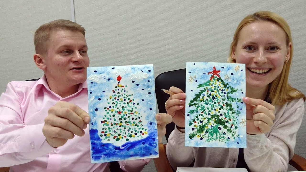Мария Водинская Новогодние открытки-рисование ватными палочками-Новогодние поделки с детьми